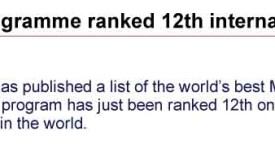 International recognition and ranking